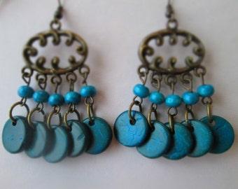 SALE BronzeTone Chandelier Earrings with Blue Wood Bead Dangles