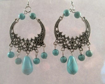 Silver Tone Chandelier Earrings with Turquoise Bead Dangles