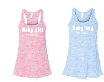Baby shower gift. Maternity gift. Baby shower. Maternity. Pregnancy gift. Baby girl or boy on board flowy racerback tank.