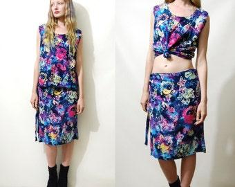 Two Piece 90s Vintage Tie-Dye Skirt & Top Set BATIK Yin Yang Colourful Rainbow Tank Blouse 2-piece Grunge Sea-punk 1990s vtg M