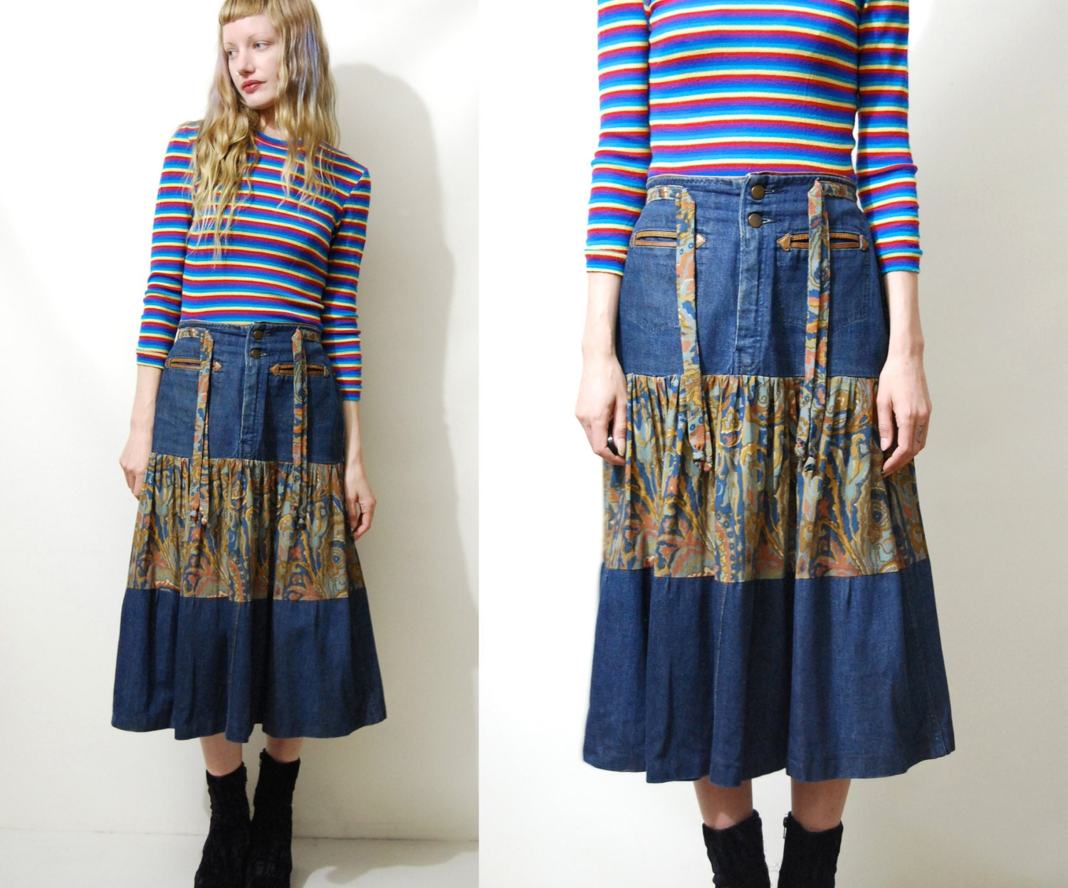 denim skirt 70s vintage western cowboy highwaist tiered flare
