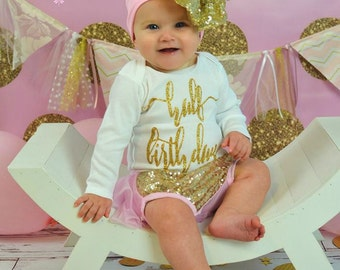 Lovely in Pink- Half Birthday outfit- Half Birthday Birthday Outfit- 1/2 Birthday Outfit- Pink  and gold sequin Bloomers-cake smash