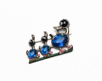 Vintage Blue Rhinestone Enamel Duck Family Brooch Pin 1920s