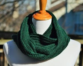 Crochet Textured Infinity Scarf - Forest Green