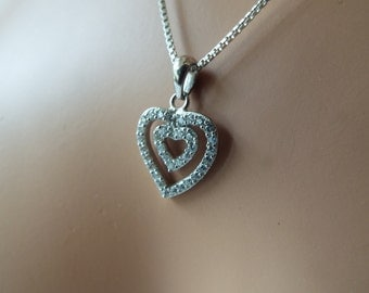 double love heart sterling silver swarovski crystal pendant necklace 925