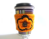 Cup Cozy Spider Halloween Punk Gothic Black Orange Eco-friendly Reuse