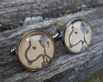 Snoopy Cufflinks. CHOOSE YOUR COLOR. Anniversary, Unique Birthday Gift, Groomsmen Gift, Christmas. Upcycled.