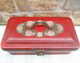 Antique Metal Document Box Old Red Paint Shabby Roses Made in Germany Rustic Country Farmhouse Decor Folk Art