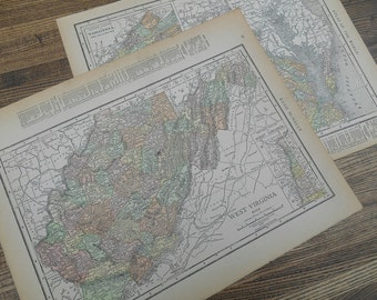 One Antique 1915 Rand McNally Map of Virginia or West Virginia Original Vintage Color Map State Map 1915 Frameable Travel Decor