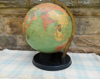 Vintage Globe 12 inch Replogle Reference Globe with Metal Base Arm Geography Travel Wedding Guest Book Decor Old 1940s Midcentury Globe