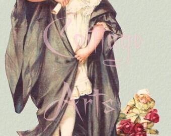 "Digital Download Maud Humphrey Bogart's ""Little Graduate"" Antique Die Cut Victorian Scrap Graphic Image now in PNG!"