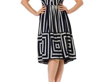 1950s Geometric Striped Short Sleeve Dress