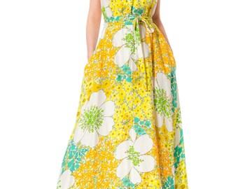 1970s Ditsy Floral Open Back Summer Halter Dress SIZE: S, 2-4