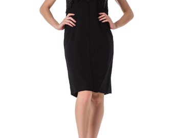 1960s Mod Tech Cutout Knit Sleeveless Black Dress SIZE: S/M, 4/6