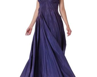 1930s Taffeta Blue Flowy Gown