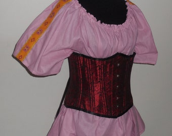 RTS Pink ladies half length medieval short sleeve chemise with trim renaissance shirt Pirate top ready to ship