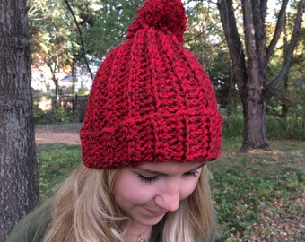 Crocheted  Pom Beanie Hat Handmade in USA