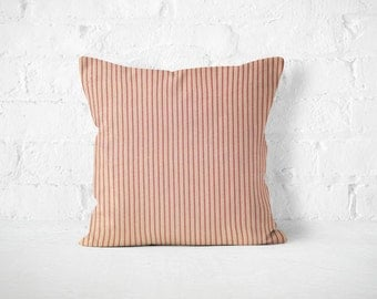 Farmhouse euro sham, pillow cover, farmhouse bed, red pillow cover, red ticking stripes pillow cover 26x26 inch, French country cottage chic