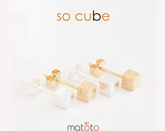 Gold Filled / Sterling Silver Tiny Cube Stud Earrings, Geometric Minimalist Inspired Jewelry, Bridesmaid Girlfriend Sister Gift, PM GJ PM