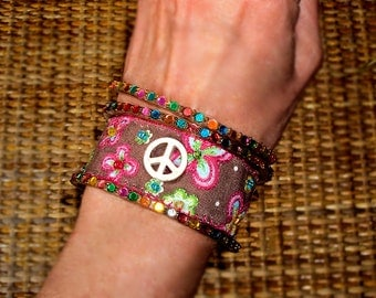 FLASH SALE Hippie India Textile Fabric Colorful Peace Sign Embroidred Bracelets Neon Beads