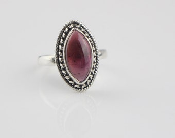 925 Silver Ladies Bohemian Ring Set with a Long Oval Smooth Purple Red Color Stone UK Size O US Size 7.25