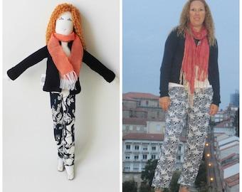 Personalized fabric doll, selfie doll, mini-me stuffed doll, portrait doll, likeness, unique girlfriend mother best friend birthday gift