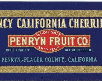 Vintage Fancy California Cherry Fruit Crate Label