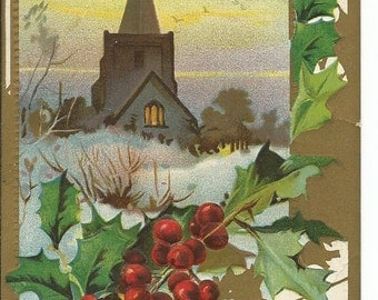 Christmas Best Wishes  Church with Holly Vintage Christmas Postcard