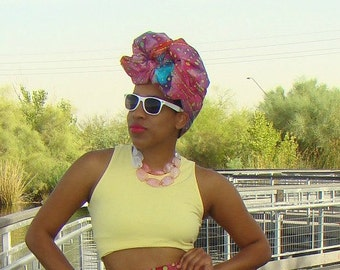 Pink Tie-dye Multicolor African Print Headwrap