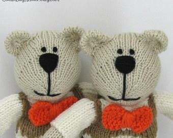 Ring Bearer Gift - Hand Knit Bear - Stuffed Bear - Ring Bearer Bear - Plush Doll - Stuffed Animal  - Handmade Toy - Ring Bearer Anthony