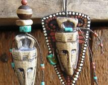 Tribal earrings-Rustic earrings-asymmetric ethnic earrings-pendant African look-little mask-turquoise-beige-mask earrings-primitive mood