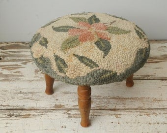 Antique Hooked Foot Stool Green Pink 1950s