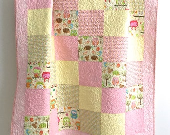 Patchwork Baby Girl Quilt Owl and Company by RBD Designers for Riley Blake Pink Yellow Green Brown Orange