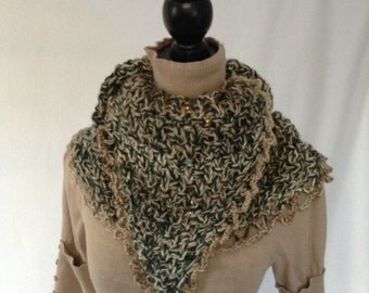 The Longtail Shawl, a beautiful wrap with a hint of sparkle that can be worn many ways, as a scarf or cowl .