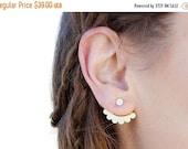 SALE Valentines day Ear jackets: delicate 24 k gold plated wavy ear jacket, cute pair of stud earrings