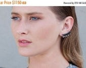 SALE Valentines day Ear climbers, pure silver plated ear jackets with black and smoky-clear Swarovski crystals