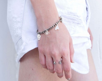 Silver Charm Bracelet, Bracelet With Charms, Charm Bracelet For Girls, Girls Charm Bracelet, Gift For Girls, Silver Link Chain Bracelet