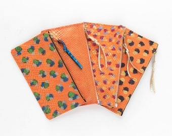 Simple handpainted natural leather pencil case / make up pouch - Orange snake texture-  Choose your color - Ready to Ship