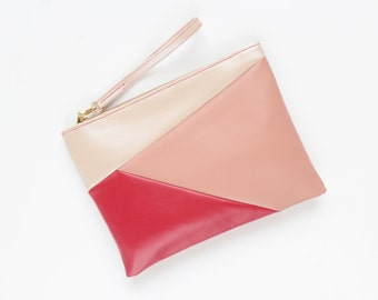 SIMPLY 12 /Minimalist clutch purse-vegan leather bag-geometric purse-pink blush red-wristlet clutch-simple daily purse-Ready to Ship