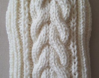 White Cable Knit Dog Sweater-Knitted Dog Sweater-Dog Coat-Dog Costume-Dog Clothes-Size S