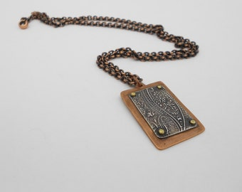Long Mixed Metal Necklace, Riveted Copper and Silver
