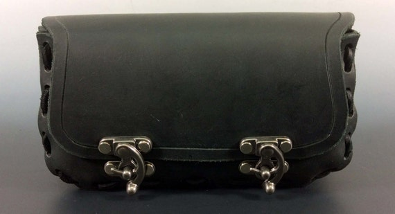 Medium wide leather pouch(Hard Sides)- handmade