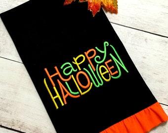 Halloween Towel - Halloween Tea Towel - Happy Halloween Towel - Halloween Embroidery Towel - Halloween Kitchen Towel - Halloween Dish Towel
