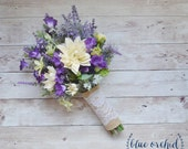 Wildflower Bouquet - Lavender and Purple Wildflower Bouquet with Ivory Dahlias, Silk Wildflower Bouquet, Boho Bouquet, Purple Bouquet