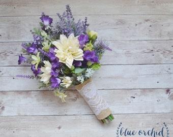 Wildflower Bouquet - Lavender and Purple Wildflower Bouquet with Ivory Dahlias, Silk Wildflower Bouquet, Boho Bouquet, Purple Bouquet