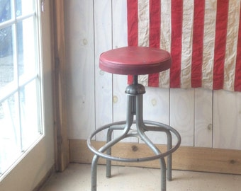 Industrial Bar Stool. Red Vinyl and Chrome Adjustable Bar Stool.