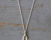 Silver Wishbone Necklace - Delicate and Pretty Sterling Silver Wishbone on Silver Chain - Lucky Charm