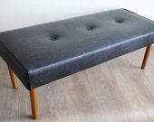 Vintage Vinyl Footstool - Mid Century Modern Black Vinyl Buttoned Footstool, Bench, End of Bed