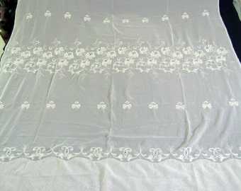 """Gorgeous Vintage Off-White Embroidered Lace Curtain Panel and Two Valances  69 x 88"""""""
