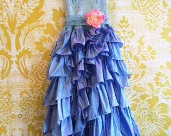 french blue & lavender asymmetrical ruffled taffeta boho party dress by mermaid miss kristin